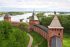 Old towers of Novgorod Kremlin Royalty Free Stock Photo