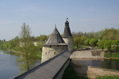 Old towers in Pskov Stock Photography