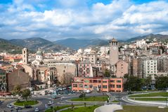 Old towers in Savona, Italy, travel landmark Stock Photo
