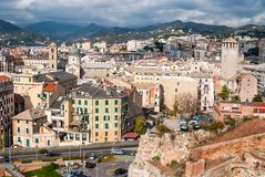 Old towers in Savona, Italy, travel landmark Royalty Free Stock Image