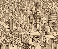 Old town. Old hand-drawn detail town- sepia Royalty Free Stock Image
