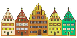 Old town. Typical European old town with houses from the middle age. Very elaborate, detailed and decorative Stock Photo