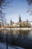 Old Town. Skyine of Ulm in the winter stock image