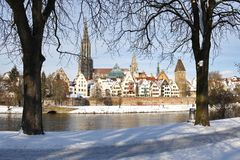 Old Town. Skyine of Ulm in the winter royalty free stock photo
