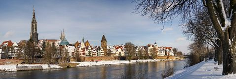 Old Town. Skyine of Ulm in the winter royalty free stock photography