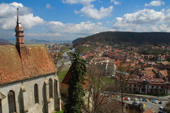 Old town 2. Aerial view of the old town of Sighisoara. A gothic church is visible on the left side Stock Image