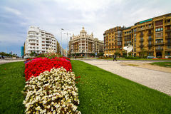Old town. City street, historic buildings, green flowerbed with white and red flowers Stock Images