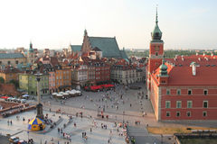 Old Town. The Royal Castle and Sigsmund's Column in Warsaw, Poland Royalty Free Stock Image