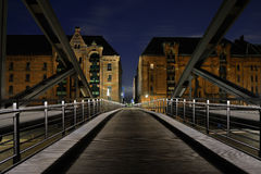 Old town. Old bridge over a canal in Hamburg with some old park houses Royalty Free Stock Photos