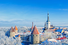 Old Town. Panoramic view of the old town in the winter. Central Europe Royalty Free Stock Images