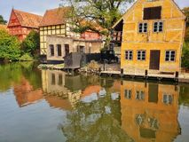 The old town, Aarhus, Denmark - reflections stock photo