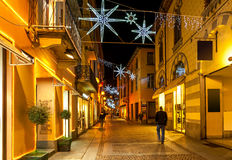 Old town of Alba decorated for Christmas. Stock Image