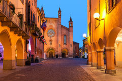 Old town of Alba in evening. Stock Images