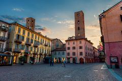 Old town of Alba, Italy. Stock Photos