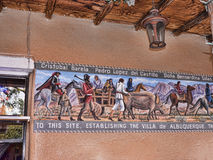 Old Town of Albuqueque with its many galleries in New Mexico USA. Historical Fresco in Shopping street in Albuquerque in New Mexico Royalty Free Stock Images