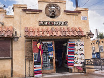 Old Town of Albuqueque with its many galleries in New Mexico USA. Shopping street with mexican decorations in Albuquerque in New Mexico Stock Photo