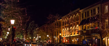 Old Town Alexandria at night Royalty Free Stock Image