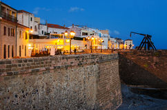 Old Town of Alghero, Sardinia Island, Italy in the. Sunset. Defensive wall royalty free stock photo