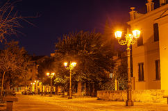 Old Town of Alghero, Sardinia Island at night Royalty Free Stock Images