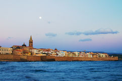 Old Town of Alghero, Sardinia Island in the sunset Stock Photos