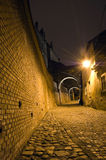 Old town alley. Night falls over the old town Hermanstadt Royalty Free Stock Image