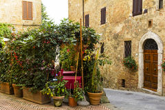 Old town alley in Tuscany Stock Photo