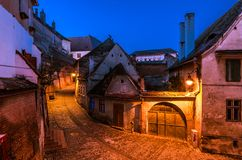 Old town alley and walls at night Royalty Free Stock Photography