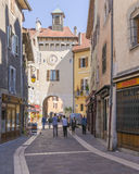 Old town Annecy. Small  town Annecy,France. Old street and clock tower Stock Photography
