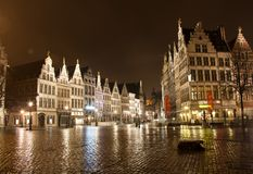 Old town in Antwerp - Belgium - at night Stock Image