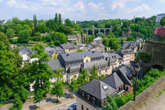 Old town and arch railway bridge in the City of Luxembourg Royalty Free Stock Image