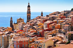 Old town architecture of Menton on French Riviera.  Royalty Free Stock Photo