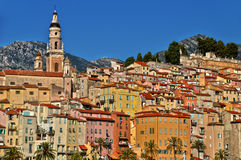 Old town architecture of Menton on French Riviera Royalty Free Stock Images