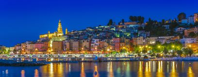 Old town architecture of Menton on French Riviera. By night stock image
