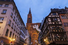 Old Town architecture with Strasbourg Minster Royalty Free Stock Image