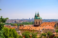 Old Town architecture with terracotta roofs in Prague royalty free stock photos