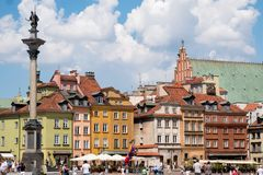 Old town area in Warsaw Poland. Colorful facades of restored buildings situated in the old town area of Warsaw Poland royalty free stock images