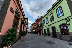 Old town in Arucas on a cloudy day, Gran Canaria royalty free stock photo
