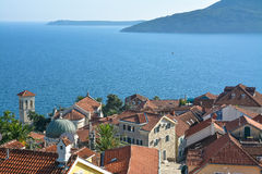 The old town on the background of the Adriatic Sea Stock Photo