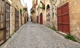 Old town Batroun, Lebanon. The old traditional limestone buildings in the seaside town of Batroun on the Lebanese Coast Stock Image