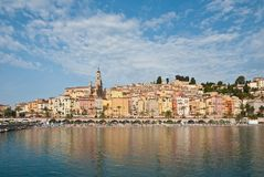 Old town and  beach, Menton, France Royalty Free Stock Photos