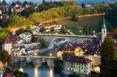 Old town of Bern. A view of the lower end of old town Bern, Switzerland in the evening stock photo