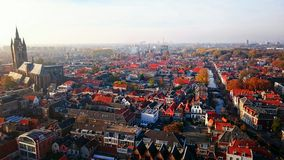 Old town in a birdview. A birdview on the historical centre of Delft in Holland Royalty Free Stock Images
