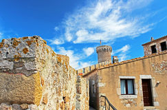 Old Town with blue sky in Tossa de Mar village Royalty Free Stock Photography