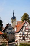 Old town and blue tower in Bad Wimpfen Stock Image