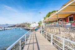 Old town and boardwalk in Puerto del Carmen, Lanzarote, Spain royalty free stock photography
