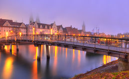 Old Town and bridge at the quay in Lubeck Royalty Free Stock Photos