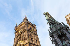 Old Town Bridge Tower and Charles IV statue. Royalty Free Stock Images