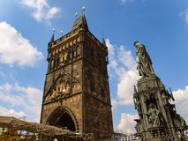 The Old Town Bridge Tower and The Monument of Charles the 4th In Prague, Czech Republic stock photography