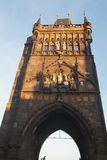 Old Town bridge tower at one end of Charles bridge, Vltava river Stock Images