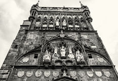Old town bridge tower in Prague, Czech republic, colorless Stock Photo